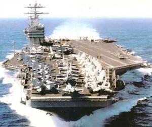 USS Nimitz, unul dintre portavioanele utilizate acum de US Navy