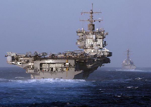 CVN-65, împreună cu crucişătorul înarmat cu rachete ghidate USS Vicksburg (CG-), în zona strîmtorii Gibraltar, în 2012