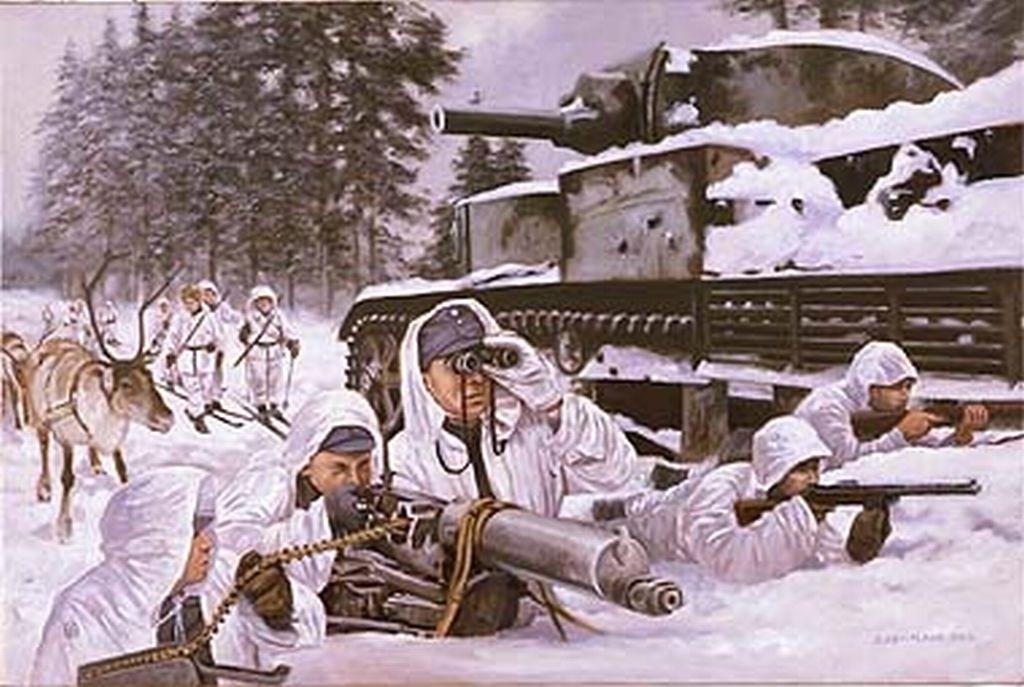 Schiori finlandezi, în luptî lângă un tanc rusesc de tip T 28: URSS a aflat, pe proporia-i piele, de ce nu-i bine să începi războiul tocmai în ziua de Sfântul Andrei