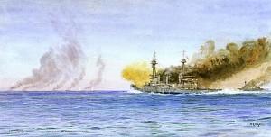 Scenă de la începutul confruntării: crucişătoarele britanice deschid focul asupra navelor germane, aflate aproape de orizont.