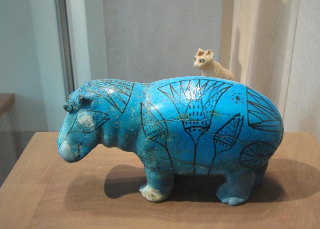 Cam aşa arată subiectul central al discuţiei noastre de astăzi. De toată isprava-s şi ochii albaştri ai pisicii din spatele hipopotamului acoperit cu flori de lotus.