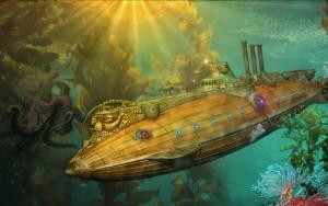 Ilustraţie color pentru romanul 20.000 de leghe sub mări: Nautilus, aşa cum şi-l imagina Jules Verne