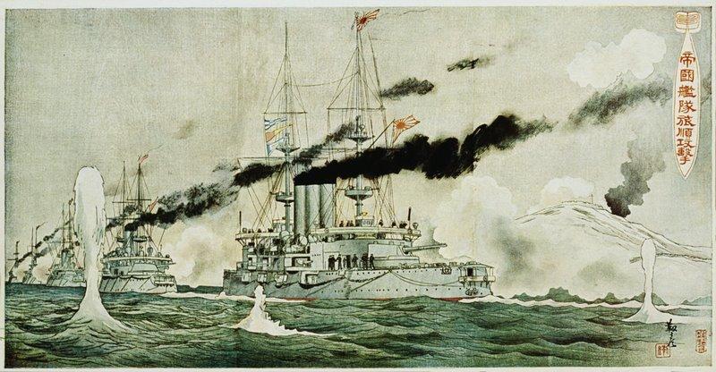 Flota amiralului Togo, bombardând Port Arthur+ul la câteva ore după atacul de noapte de la 8 februarie 1904