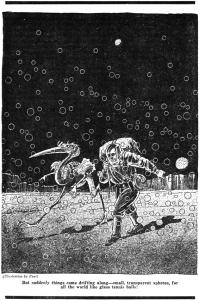 Una din ilustraţiile celebre la Odiseea marţiană: Jarvis şi Tuil, mărşăluing în pas alert prin deşerturile aride ale Planetei Roşii