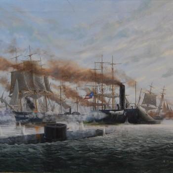 Sute de lovituri de tun: duelul naval din Hampton Roads, cu USS Monitor în prin plan