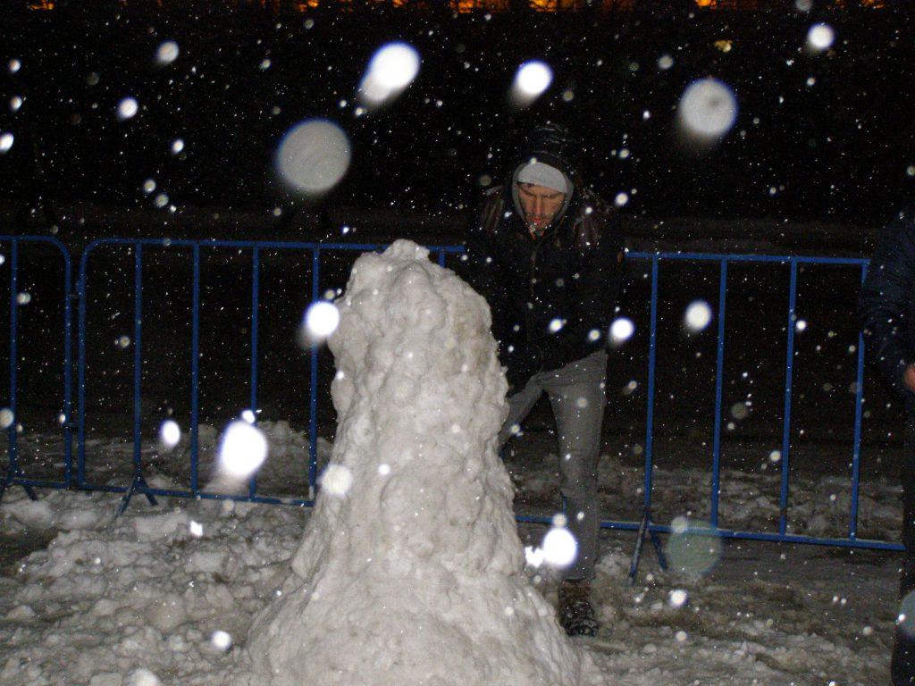 Sunt curios: ce pancartă va purta omul de zăpadă din fața Guvernului?
